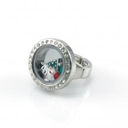 wholesale Christmas theme studded locket ring RHMT