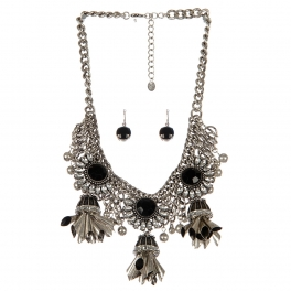 Wholesale Multi stone statement necklace set SBBKCL