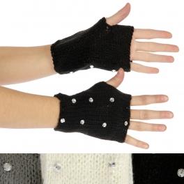 wholesale Solid knit embellished fingerless gloves Dozen