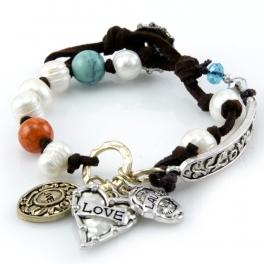 wholesale Faux pearls live laugh love bracelet TTB