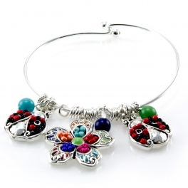 wholesale Mosaic Lady Bug and Flower charm wire bracelet ASMX