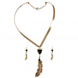 wholesale Feather drop choker necklace set WGJ