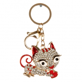 wholesale Studded cat with heart keychain fashionunic