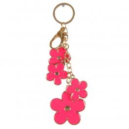 wholesale Metal hot pink flowers keychain fashionunic