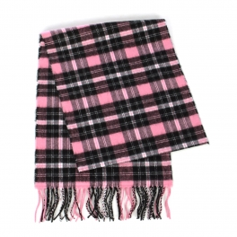 wholesale O75 Checkered plaid cashmere feel scarf 80406 Pink