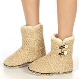 wholesale Solid knit sherpa bootie Beige fashionunic