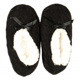 wholesale Kids cable knit moccasin slippers Black
