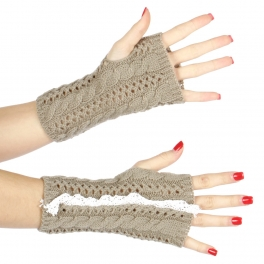 Wholesale Q05 Lace lined knit arm warmers Grey