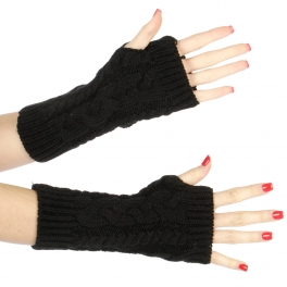 Wholesale Q03 Basic cable knit arm warmers Black