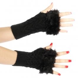 Wholesale Q05 Faux fur trim knit arm warmers Black