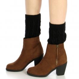 Wholesale R00 Cable knit leg warmers Black