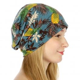 wholesale Tropical pineapple print beanie Blue