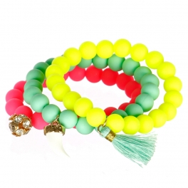 wholesale Multi silicone bead bracelet with charms GMT1