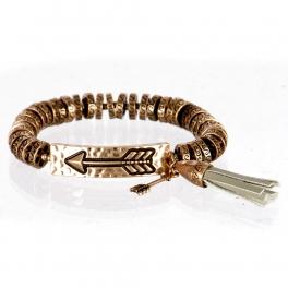 wholesale Metal arrow and tassel stretch bracelet RGB/GY