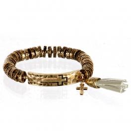 wholesale Metal cross and tassel stretch bracelet RGB/GY