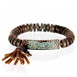 wholesale Metal blessed tassel stretch bracelet OG/BN