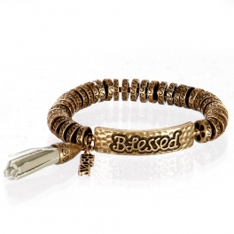 wholesale Metal blessed tassel stretch bracelet RGB/GY
