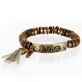 wholesale Metal brave tassel stretch bracelet RGB/GY