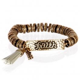 wholesale Metal faith tassel stretch bracelet RGB/GY