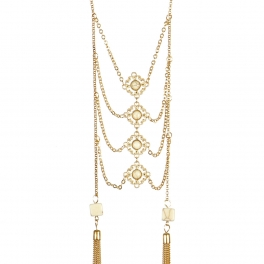 wholesale Long double tasseled layered necklace GD WT