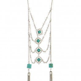 wholesale Long double tasseled layered necklace RH TQ
