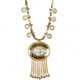 wholesale Dangling stones on metal necklace GD WT