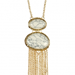 wholesale Marbled oval stone accent necklace GD WT