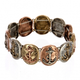 wholesale Metal anchor and hope stretch bracelet MTB