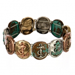wholesale Metal anchor and hope stretch bracelet PTMT