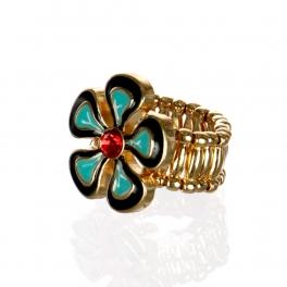 wholesale Flower with stone stretch ring GDBK fashionunic