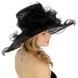 Wholesale BX70 Net covered flower corsage organza dress hat BK