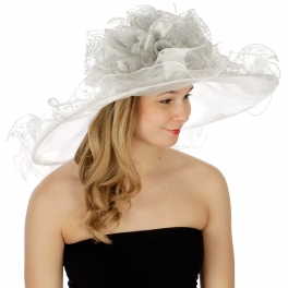 Wholesale BX70 Floral ruffle trim dress hat WH