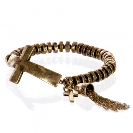 Wholesale L26A Metal cross with tassel bracelet RGB