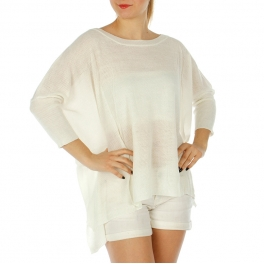 Wholesale O06C High low solid knit top White