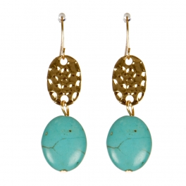 Wholesale M00E Disc and stone drop earrings G