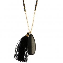 Wholesale L03A Stone tassel pendant necklace BLK