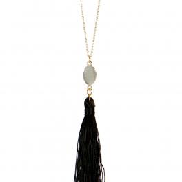 Wholesale L02E Chain tassel necklace BLK