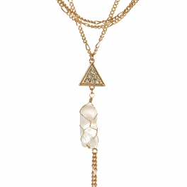 Wholesale L04D Multi strand triangle pendant necklace GC