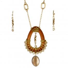 Wholesale L37A Wood teardrop pendant necklace set GN