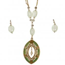 Wholesale L37B Long beaded pendant necklace set GE