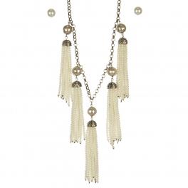 Wholesale L05A Beaded tassel necklace set BURNISHED CR