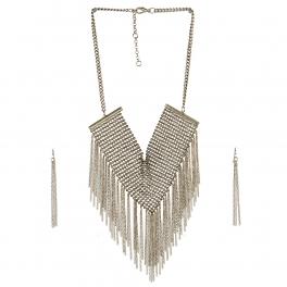 Wholesale L05E Fashion Tassel Necklace/BURNISHED SILVER