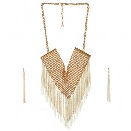 Wholesale L05E Fashion Tassel Necklace/GOLD-IVORY