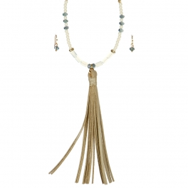 Wholesale L06B Beaded Tassel Necklace /IVORY BEIGE-GOLD