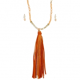Wholesale L06B Beaded Tassel Necklace/PEACH&CORAL-GOLD