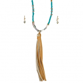 Wholesale L06B Beaded Tassel Necklace/TURQUOISE& BROWN-GOLD