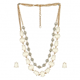 Wholesale L06A Faux Stone AND Crystal Layer Necklace/ GIV