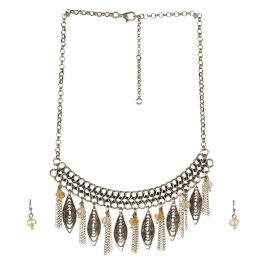 Wholesale L06A Statement Necklace/BEIGE-WARM GOLD
