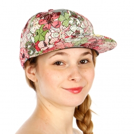 Wholesale R58B All Over Flower Print Hat PNK