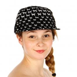 Wholesale T24A Doggy Pattern Snapback Hat BKWHT
